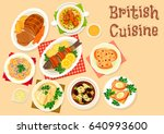 british cuisine tasty dishes... | Shutterstock .eps vector #640993600