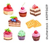 cake and pastry dessert set of... | Shutterstock .eps vector #640993609