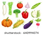 healthy watercolor drawing... | Shutterstock .eps vector #640994074