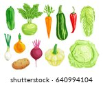 organic vegetable watercolor... | Shutterstock .eps vector #640994104