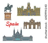 spanish travel landmark of... | Shutterstock .eps vector #640994140