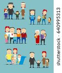 family cartoon characters set.... | Shutterstock .eps vector #640995313