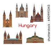 tourist sight of hungary thin...   Shutterstock .eps vector #640995343