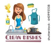 woman washing dishes by hand in ... | Shutterstock .eps vector #640995538