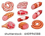 sausage and meat sketch set....   Shutterstock .eps vector #640996588