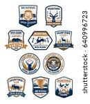 hunting club badges  african... | Shutterstock .eps vector #640996723