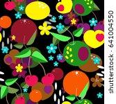 seamless cartoon kids fruits... | Shutterstock . vector #641004550