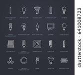 light bulbs flat line icons.... | Shutterstock .eps vector #641008723