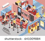 bank office with interior... | Shutterstock .eps vector #641009884