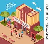 cinema building isometric... | Shutterstock .eps vector #641010340