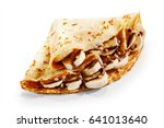 banana pancake crepes with... | Shutterstock . vector #641013640