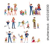 happy moments in family life ... | Shutterstock .eps vector #641018530