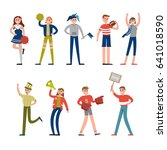 happy sport fans and supporters ... | Shutterstock .eps vector #641018590