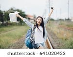 asia woman hangout traveling... | Shutterstock . vector #641020423