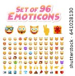 set of 96 cute emoticons on... | Shutterstock .eps vector #641028130