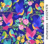 exotic birds in flowers pattern.... | Shutterstock .eps vector #641029378