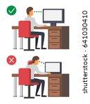 neck pain  office syndrome.... | Shutterstock .eps vector #641030410