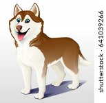 siberian husky dog. brown and... | Shutterstock .eps vector #641039266