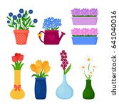 flower pots icons. spring... | Shutterstock . vector #641040016