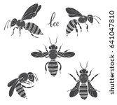 bee. vector set. isolated...   Shutterstock .eps vector #641047810
