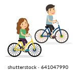couple riding bicycles. young... | Shutterstock . vector #641047990