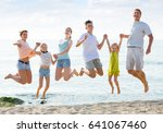 cheerful smiling family with... | Shutterstock . vector #641067460