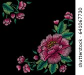 embroidery corner floral... | Shutterstock .eps vector #641067730