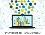 smart city on laptop with... | Shutterstock .eps vector #641069080
