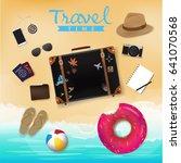 travel bag on beach background  ...   Shutterstock .eps vector #641070568
