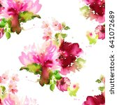Stock photo seamless summer pattern with watercolor flowers handmade white background 641072689
