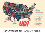 silhouette of the map of usa... | Shutterstock .eps vector #641077066