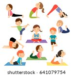 children yoga. kids doing yoga... | Shutterstock . vector #641079754