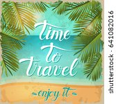 vintage summer poster with... | Shutterstock . vector #641082016
