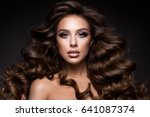 beautiful young brunette with... | Shutterstock . vector #641087374