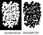 black and white graffiti... | Shutterstock .eps vector #641089729