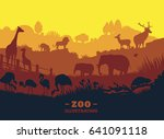 zoo world illustration... | Shutterstock . vector #641091118