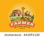 illustration farm logo in... | Shutterstock . vector #641091130