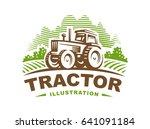 tractor logo illustration on... | Shutterstock . vector #641091184