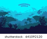 undersea world illustration... | Shutterstock . vector #641092120