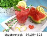smoothie of watermelon with... | Shutterstock . vector #641094928