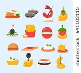 various meat fish cheese... | Shutterstock .eps vector #641102110