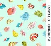sea shells seamless vector... | Shutterstock .eps vector #641115094