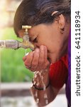 indian women drinking water... | Shutterstock . vector #641118934