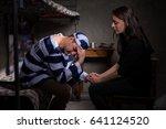 male prisoner sitting on a bed... | Shutterstock . vector #641124520