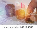 stacked coin  with account book ... | Shutterstock . vector #641125588