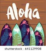 aloha lettering  surfboards... | Shutterstock .eps vector #641129908