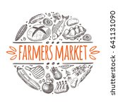 farmers market concept with... | Shutterstock .eps vector #641131090