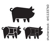 pig silhouette icon with pork... | Shutterstock .eps vector #641133760