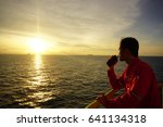 offshore worker communicate... | Shutterstock . vector #641134318