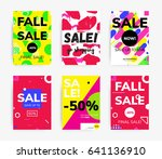minimal geometric posters set... | Shutterstock .eps vector #641136910
